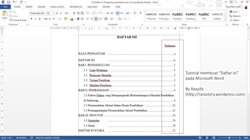 tutor daftar isi 1