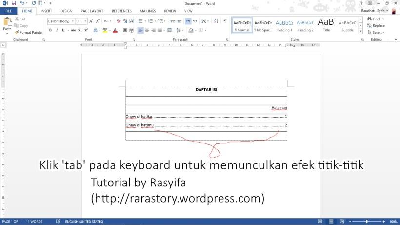 tutor daftar isi 3